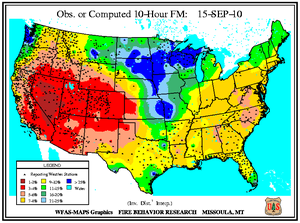 10-hr Fuel Moisture Map for September 15