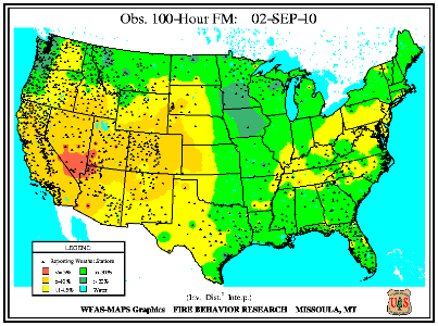 100-hr Fuel Moisture Map for September 1