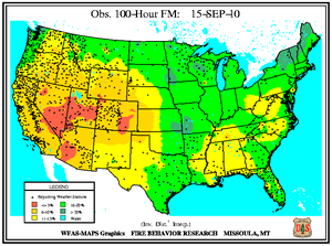 100-hr Fuel Moisture Map for September 15