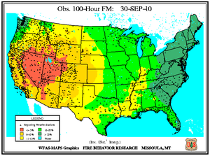 100-hr Dead Fuel Moisture Map on 30 September 2010