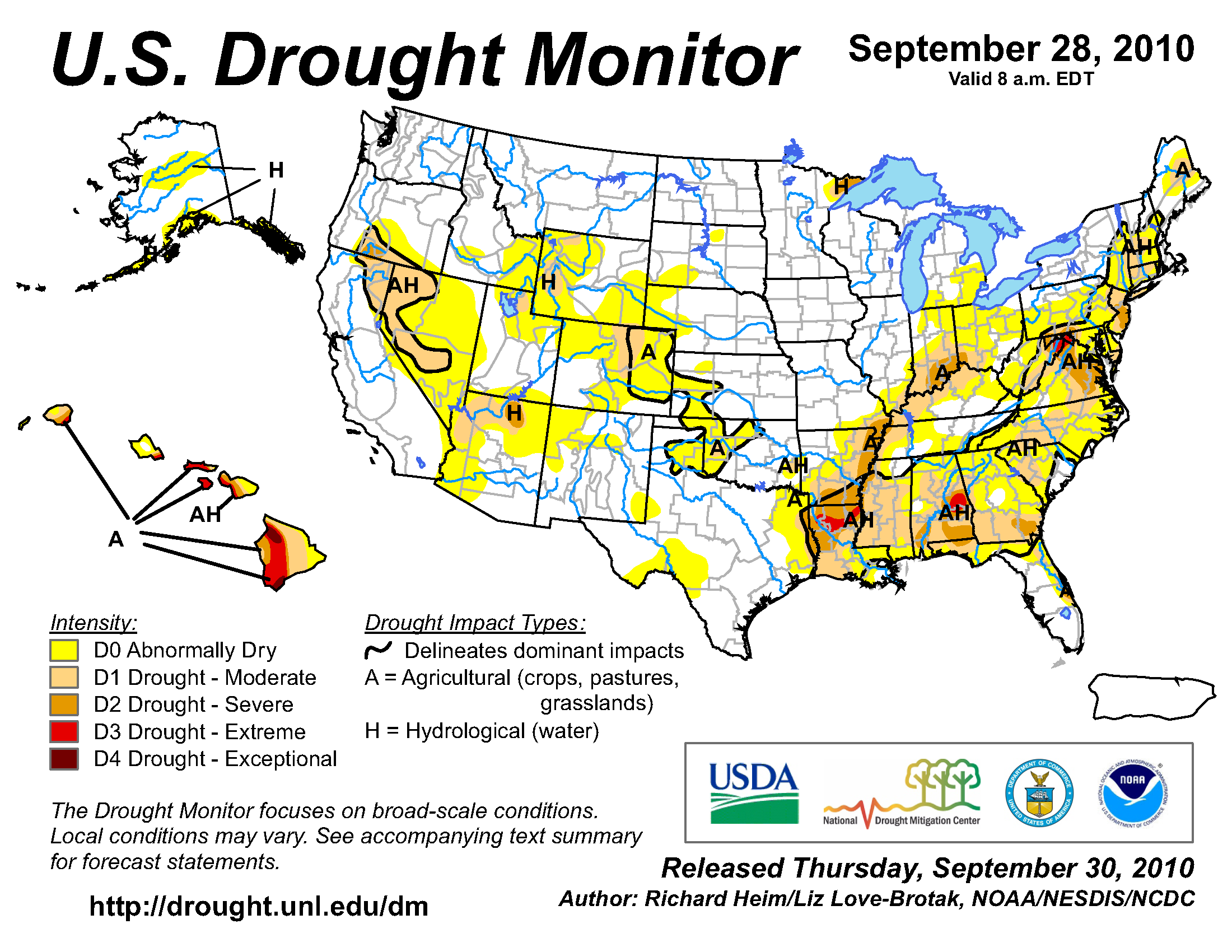 U.S. Drought Monitor map from 28 September 2010