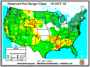 Fire Danger Map for October 15