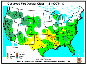 Fire Danger map from 31 October 2010