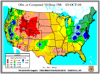 10-hr Fuel Moisture Map for October 1