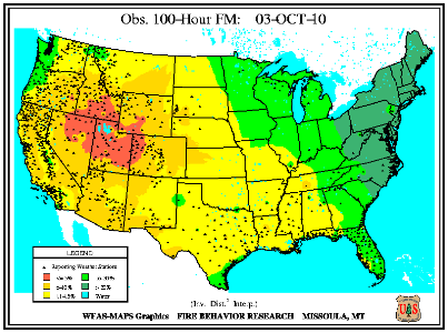 100-hr Fuel Moisture Map for October 1