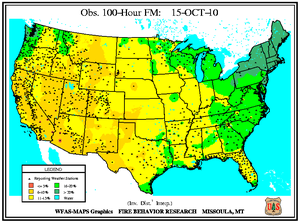 100-hr Fuel Moisture Map for October 15