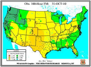100-hr Dead Fuel Moisture Map on 31 October 2010