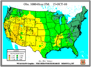 1000-hr Fuel Moisture Map for October 15