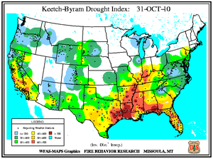 Keetch-Byram Drought Index on 31 October 2010