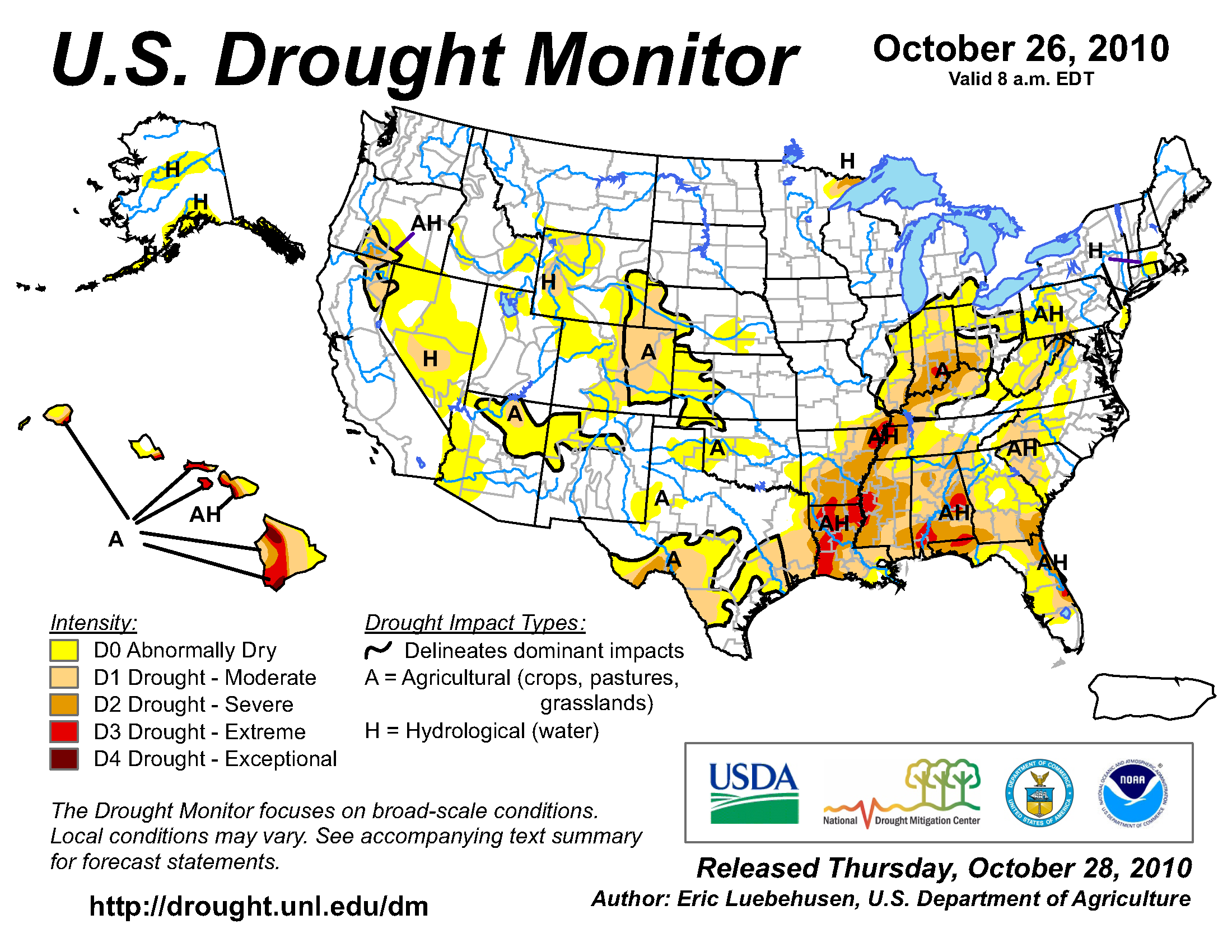U.S. Drought Monitor map from 26 October 2010
