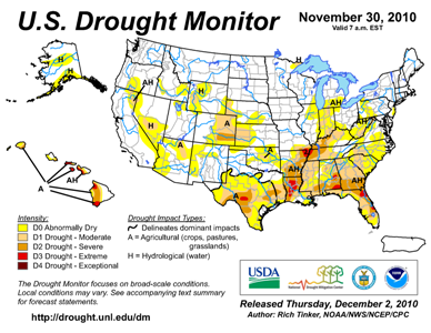 U.S. Drought Monitor map from 26 November 2010