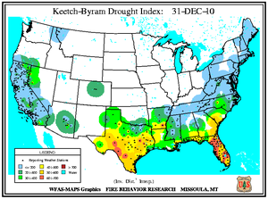 Keetch-Byram Drought Index on 31 December 2010