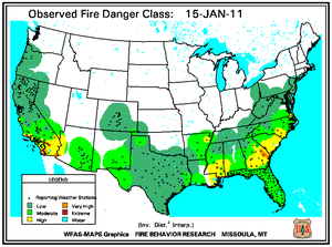 Fire Danger Map for January 15