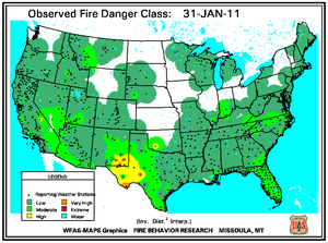Fire Danger map from 31 January 2011