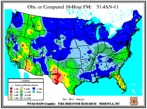 10-hr Dead Fuel Moisture Map on 31 January 2011