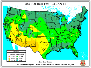 100-hr Fuel Moisture Map for January 31