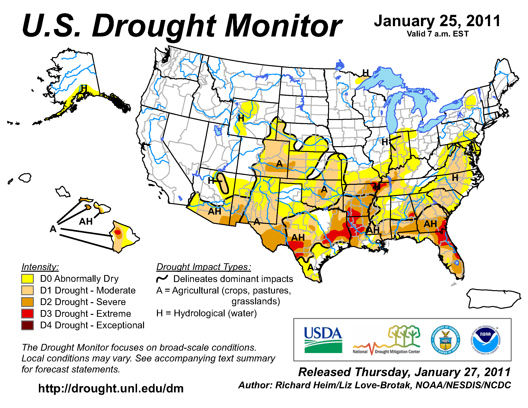 U.S. Drought Monitor map from 25 January 2011