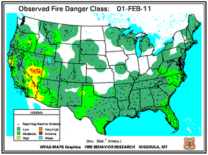 Fire Danger Map for February 1