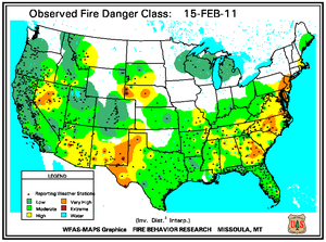 Fire Danger Map for February 15