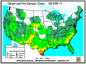Fire Danger map from 28 February 2011