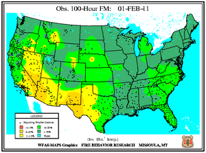 100-hr Fuel Moisture Map for February 1