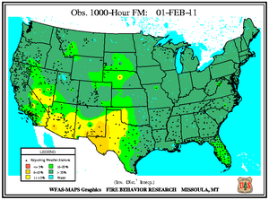 1000-hr Fuel Moisture Map for February 1