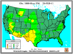 1000-hr Fuel Moisture Map for February 28