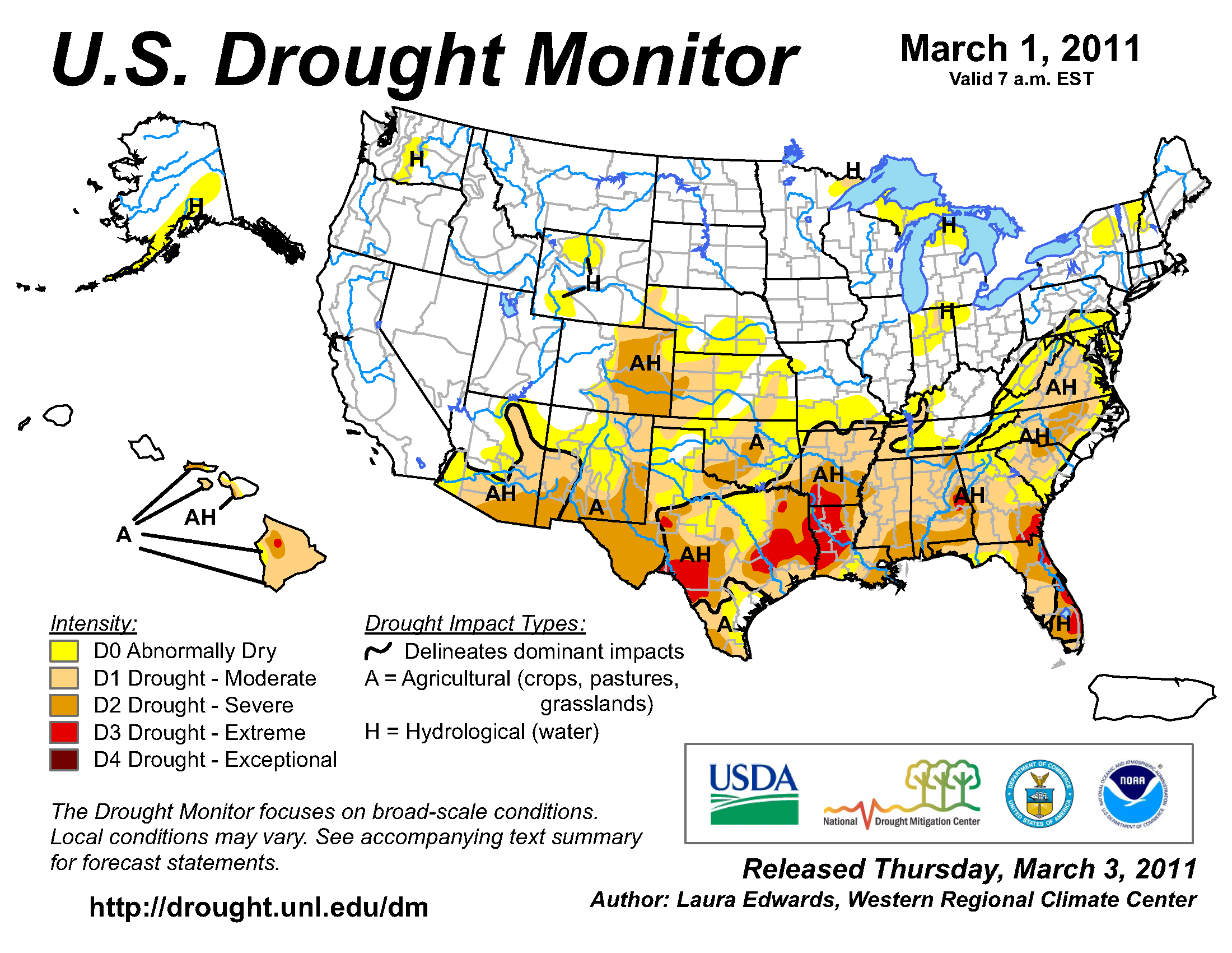 U.S. Drought Monitor map from 1 March 2011