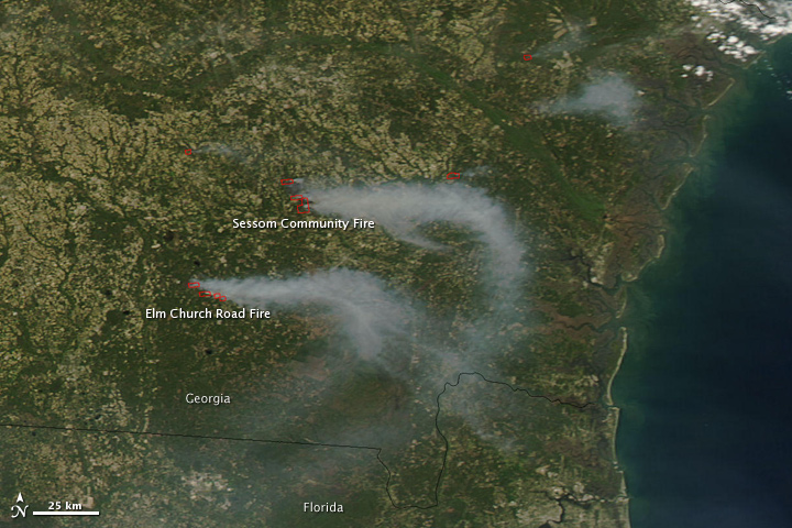 Satellite Image Of Georgia Wildfires 25 March 2010
