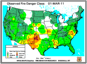 Fire Danger Map for March 1