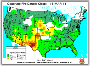 Fire Danger Map for March 16