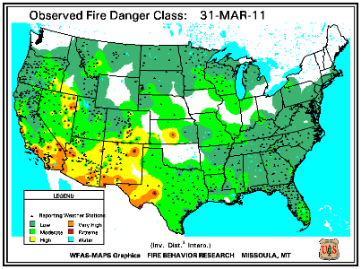 Fire Danger map from 31 March 2011