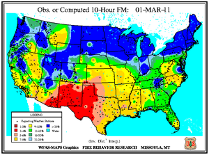 10-hr Fuel Moisture Map for March 1