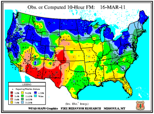 10-hr Fuel Moisture Map for March 16