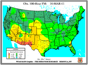 100-hr Fuel Moisture Map for March 16