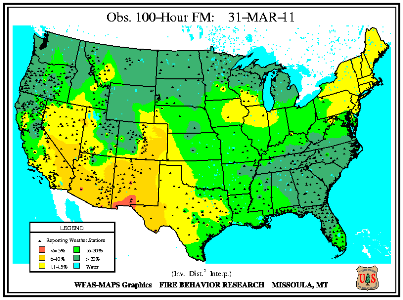 100-hr Dead Fuel Moisture Map on 31 March 2011