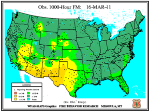 1000-hr Fuel Moisture Map for March 16