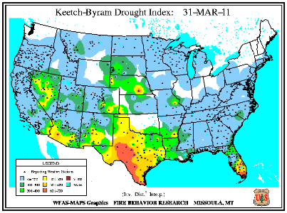 Keetch-Byram Drought Index on 31 March 2011