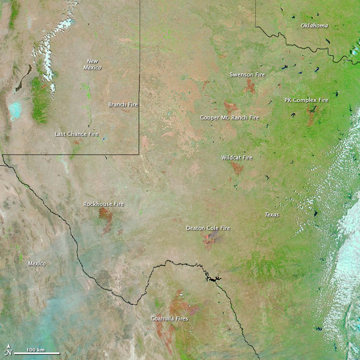 Satellite Image of Texas and New Mexico Fire Scars