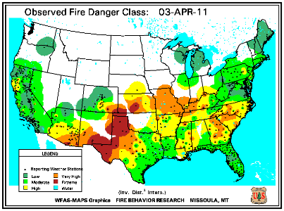 Fire Danger Map for April 1