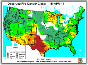 Fire Danger Map for April 15