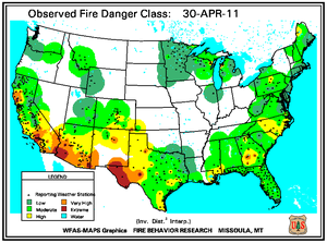 Fire Danger map from 30 April 2011