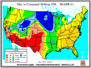 10-hr Fuel Moisture Map for April 30