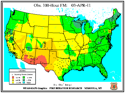 100-hr Fuel Moisture Map for April 1