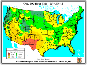 100-hr Fuel Moisture Map for April 15