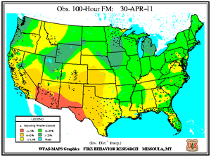 100-hr Dead Fuel Moisture Map on 30 April 2011