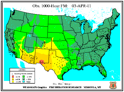 1000-hr Fuel Moisture Map for April 1
