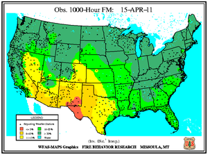 1000-hr Fuel Moisture Map for April 15