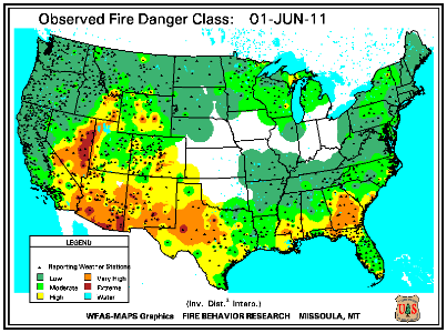 Fire Danger map from 31 May 2011