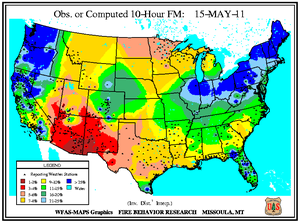10-hr Fuel Moisture Map for May 15
